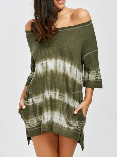 Off Shoulder Slit Tie Dye High Low Summer Dress - Army Green M