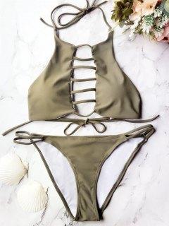 Padded Ladder Cut Out Bikini Set - Grey Olive S