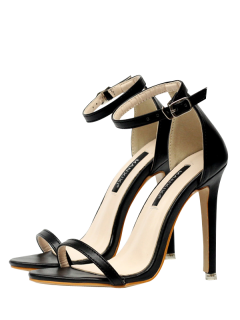 Mini Heel Ankle Strap PU Leather Sandals - Black 40