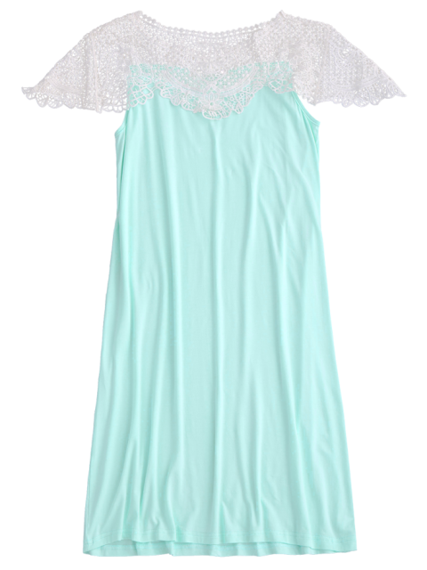 lady Cape Sleeve Lace Panel Babydoll - LIGHT GREEN XL Mobile