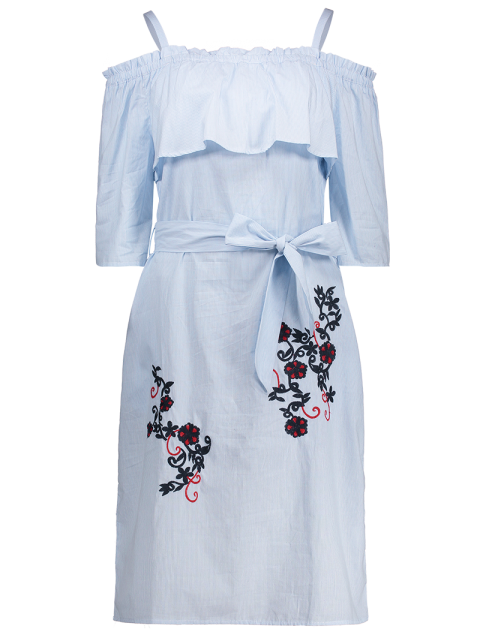 outfits Slip Floral Embroidered Ruffle Dress With Belt - LIGHT BLUE S Mobile