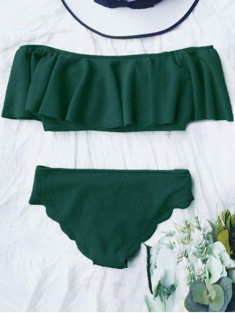 unique Scalloped Off The Shoulder Bikini Set - DEEP GREEN S Mobile