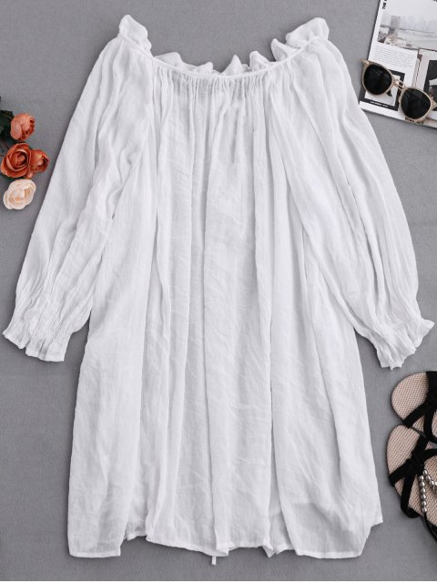women Ruffle Tie Neck Draped Cover Up - WHITE ONE SIZE Mobile