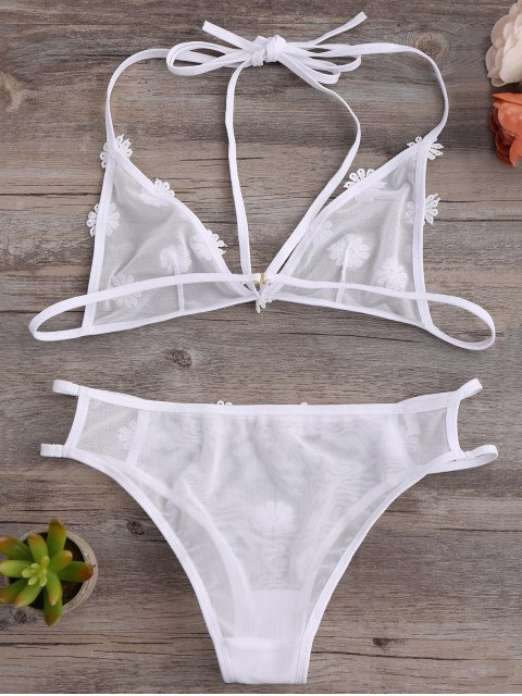 chic Strappy Mesh Daisy Bra Set - WHITE M Mobile