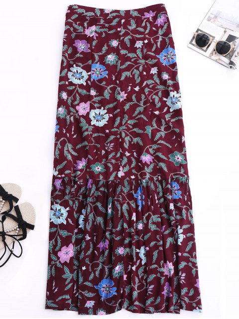 latest Maxi Buttoned Slit Floral Skirt - COLORMIX S Mobile