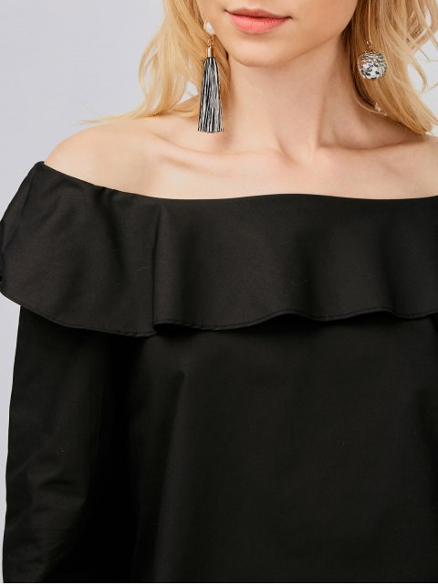women Off Shoulder Oversized Blouse - BLACK L Mobile