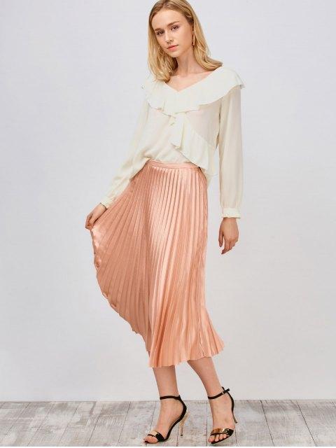 lady Ruffled High Low Sheer Blouse - PALOMINO L Mobile