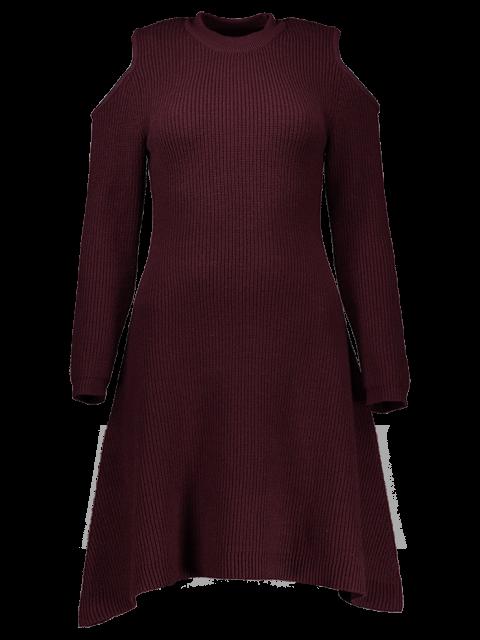 shop Cold Shoulder Knitted Dress - WINE RED L Mobile