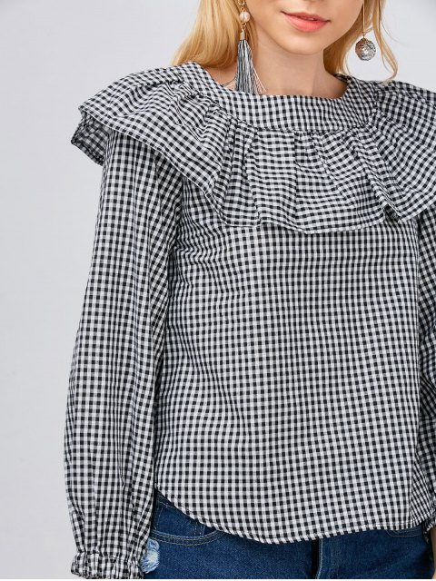best Gingham Check Ruffle Blouse - WHITE AND BLACK L Mobile