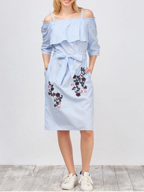 hot Slip Floral Embroidered Ruffle Dress With Belt - LIGHT BLUE L Mobile