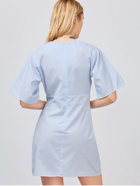 latest Embroidered Slit Striped Surplice Dress - LIGHT BLUE M Mobile