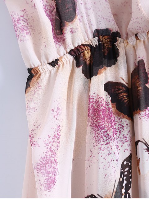 fancy Butterfly Cold Shoulder Chiffon Dress - PINK M Mobile