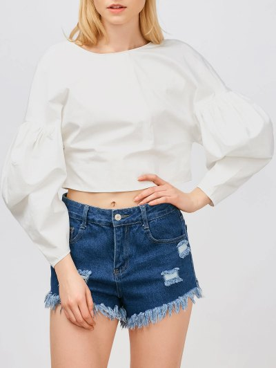 Puff Sleeves Cropped Button Up Blouse - White