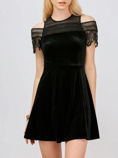Lace Insert Cold Shoulder Mini Dress - Black