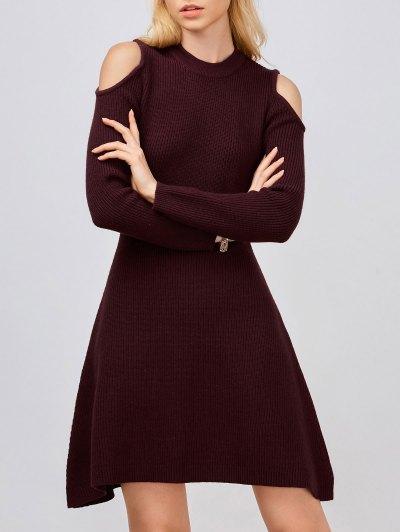 Cold Shoulder Knitted Dress - Wine Red