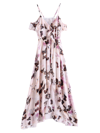 Butterfly Cold Shoulder Chiffon Dress - Pink