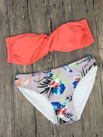 Zaful Printed Twist Bandeau Bikini Set