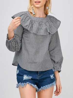 Gingham Check Ruffle Blouse - White And Black