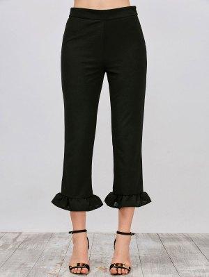 Ruffle Hem Capri Pants - Black