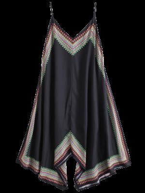 Printed Asymmetrical Beach Dress - Black