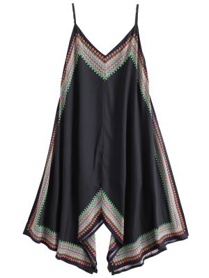 Impreso Vestido Asimétrico De La Playa - Negro