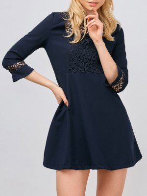 Lace Panel Stand Collar Skater Dress - Purplish Blue