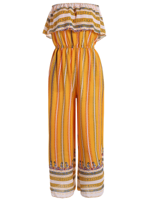 Ruffles Tribal Print Tube Jumpsuit - Yellow
