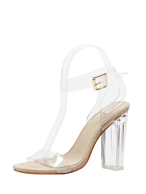 Transparent Plastic Clear Heel Ankle Strap Sandals