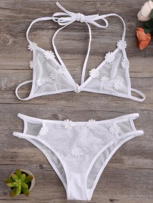 Strappy Mesh Daisy Bra Set - White