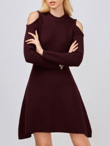 Cold Shoulder Knitted Dress - Wine Red