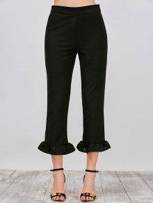 Hem Volante Pantalones De Capri - Negro