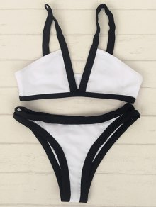 Hit Color Cami V Neck Bikini Set