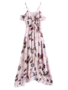 Butterfly Cold Shoulder Chiffon Dress - Pink L
