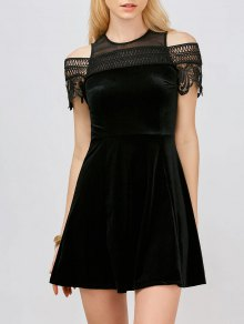 Lace Insert Cold Shoulder Mini Dress
