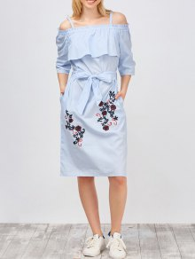 Slip Floral Embroidered Ruffle Dress With Belt - Light Blue
