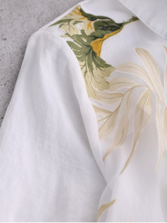 Layered Floral Oversized Blouse - WHITE S Mobile