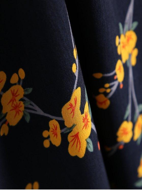 Ruffle Hem Floral Slip Dress - PURPLISH BLUE ONE SIZE Mobile