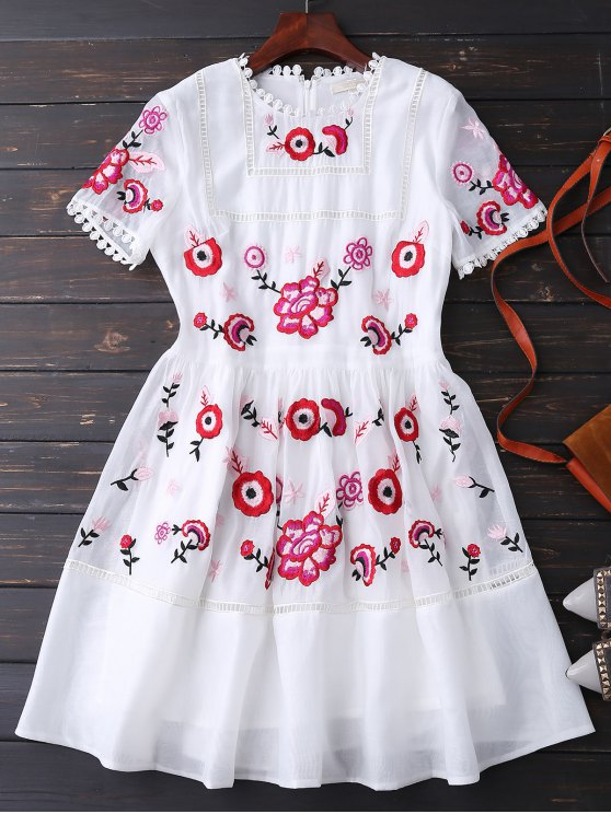 womens Embroidered Floral Dress - WHITE M