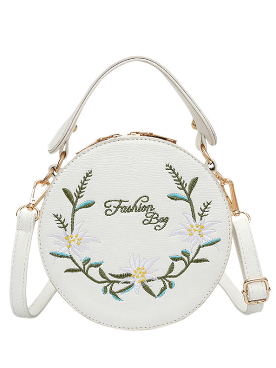 shop Flower Embroidered Canteen Crossbody Bag - WHITE