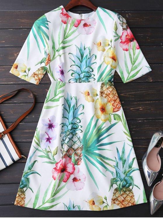 Impresión floral que fluye vestido - Colormix L
