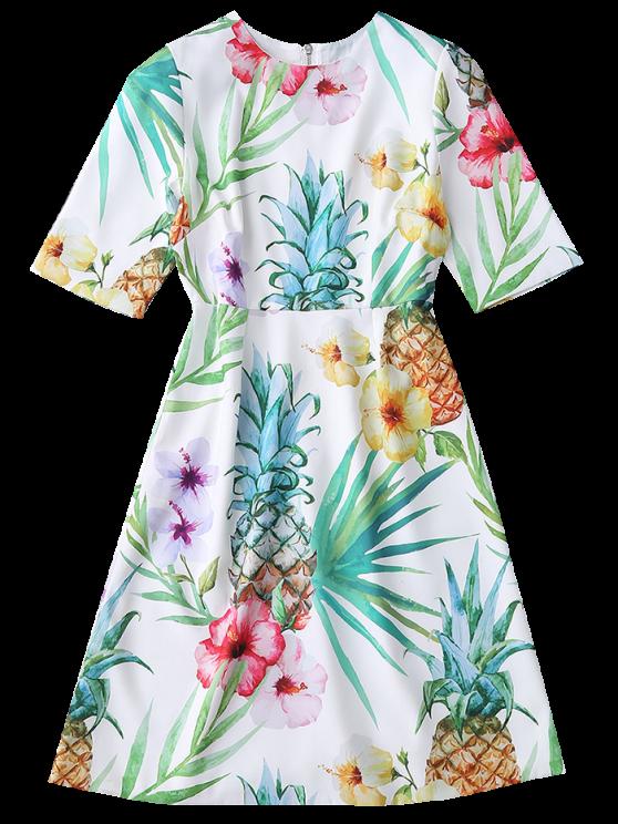 Floral Print Flowing Dress - COLORMIX L Mobile