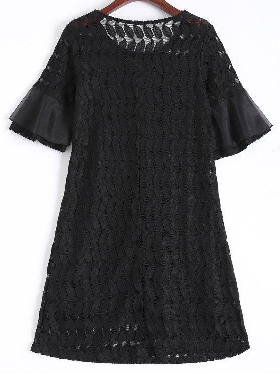 Sheer Lace Flare Sleeve Dress - BLACK L Mobile