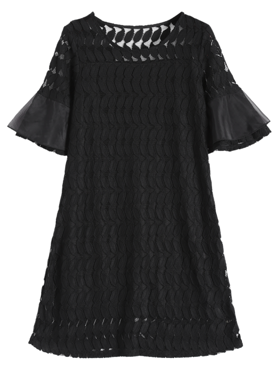 Sheer Lace Flare Sleeve Dress - BLACK XL Mobile