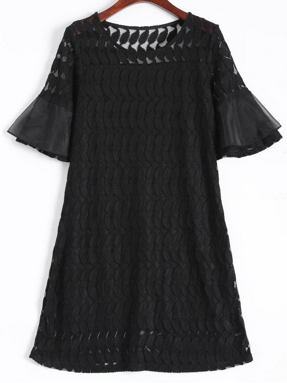 hot Sheer Lace Flare Sleeve Dress - BLACK 2XL