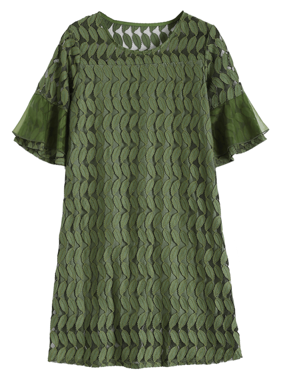 Sheer Lace Flare Sleeve Dress - ARMY GREEN 2XL Mobile