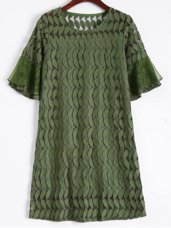 Sheer Lace Flare Sleeve Dress - ARMY GREEN L Mobile