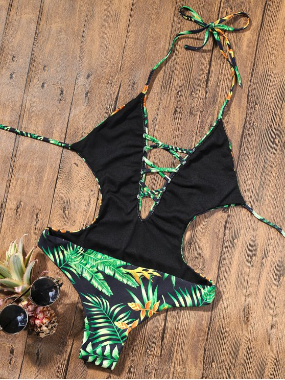 Backless Plunge Monokini with Tropical Print - GREEN M Mobile