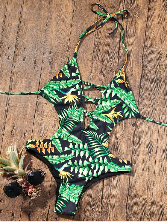 trendy Backless Plunge Monokini with Tropical Print - GREEN S
