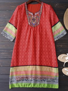 Ethnic Embellished Print Shift Dress - Jacinth Xl