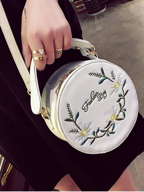 shop Flower Embroidered Canteen Crossbody Bag - WHITE  Mobile